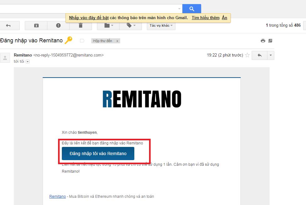Click vào link trong mail để kích hoạt tài khoản