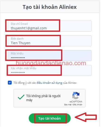 Hướng dẫn đăng ký tài khoản Aliniex