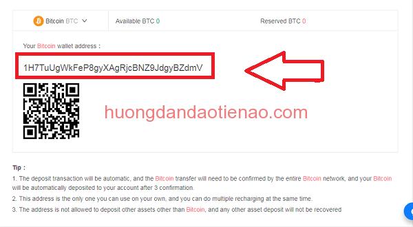 chuyển bitcoin lên kucoin