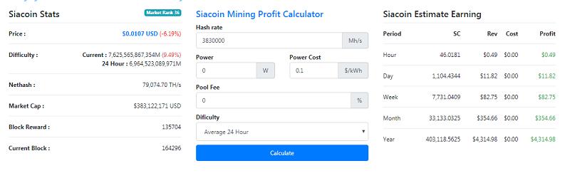 Tính toán thu nhập của máy đào CoinInnosilicon S11 Siamaster
