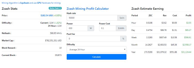 Tính toán thu nhập của máy đàoInnosilicon A9 Zmaster