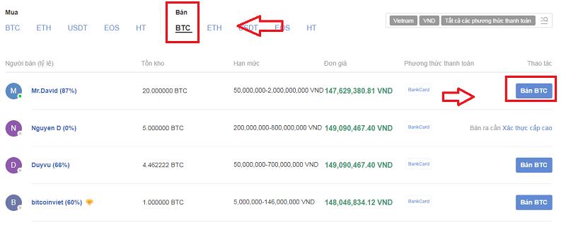 Hướng dẫn bán Bitcoin (BTC) trên Huobi ra VNĐ