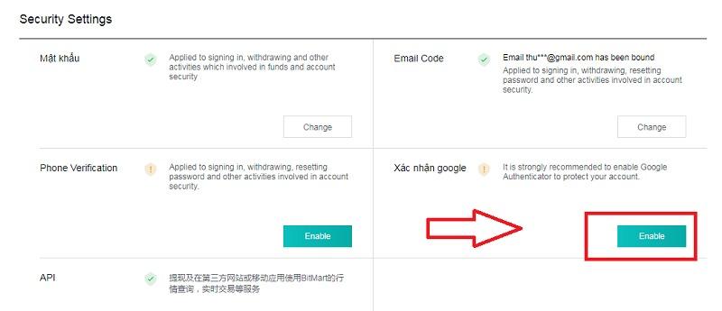 Hướng dẫn bật bảo mật 2 lớp 2FA với Bitmart
