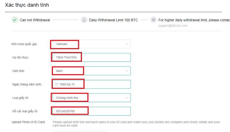 Hướng dẫn KYC (xác minh danh tính) Bitmart