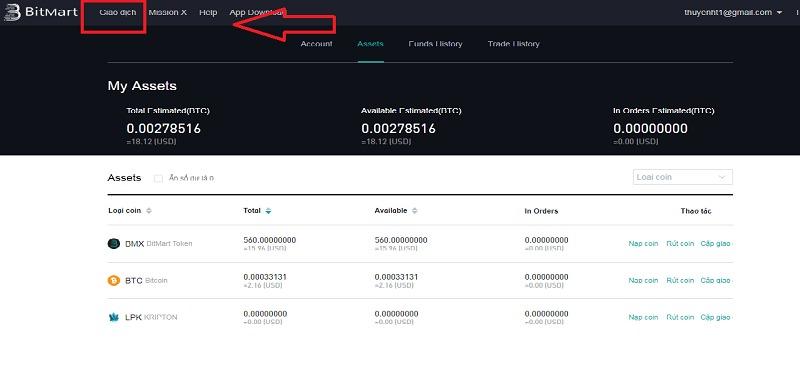 Hướng dẫn chuyển Bitcoin lên Bitmart