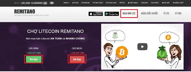 Hướng dẫn mua bán trực tiếp Litecoin từ người mua bán sẵn trên remitnao